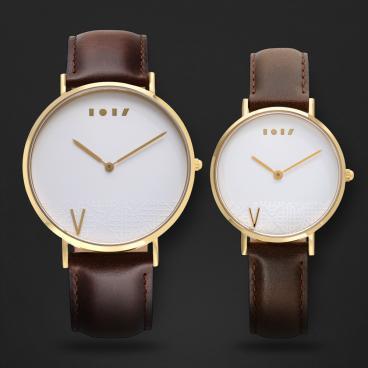 طقم ساعة آن بني ومينا أبيض ML010711