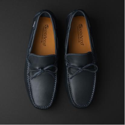 حذاء موكاسين جلد كحلي 9819