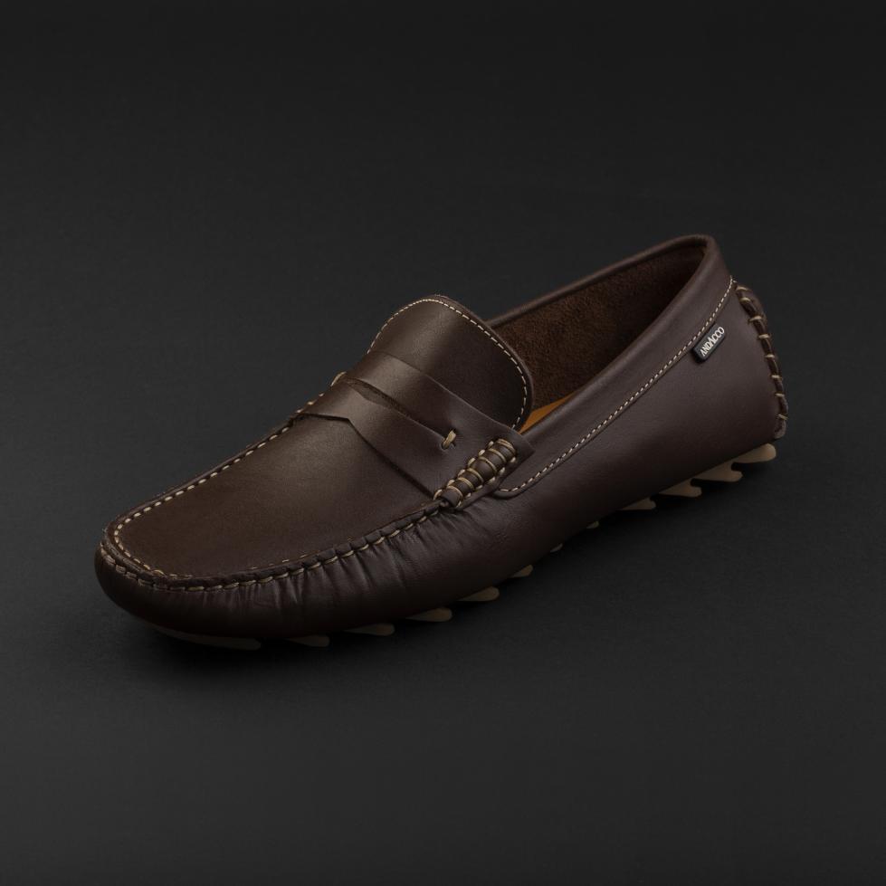 حذاء موكاسين جلد بني داكن 9823