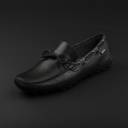 حذاء موكاسين جلد أسود 9819