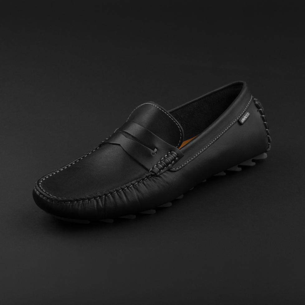 حذاء موكاسين جلد أسود 9823