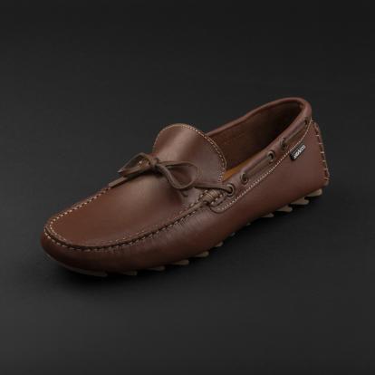 حذاء موكاسين جلد بني 9819