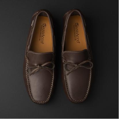 حذاء موكاسين جلد بني داكن 9819