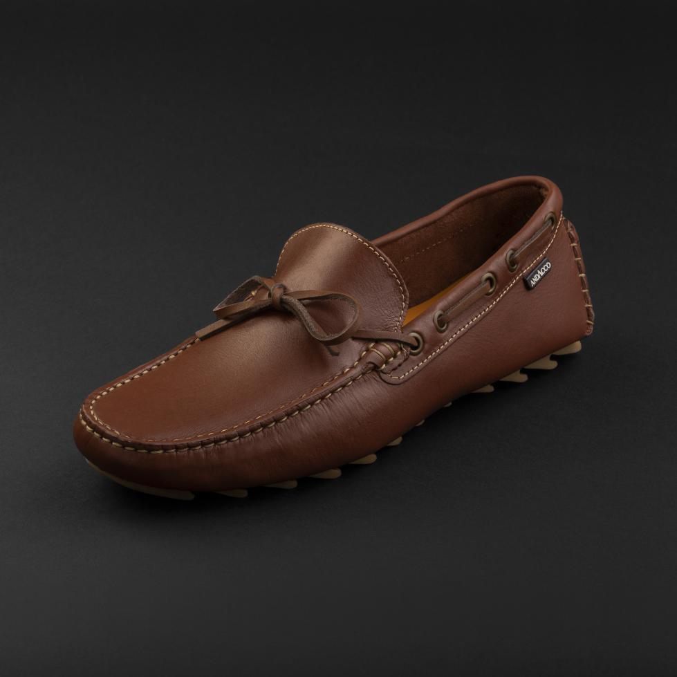 حذاء موكاسين جلد بني فاتح 9819