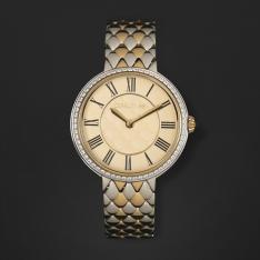 ساعة شيروتي نسائية ذهبي وفضي ومينا ذهبي CRM23302