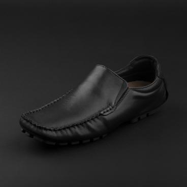 حذاء موكاسين جلد أسود 1036