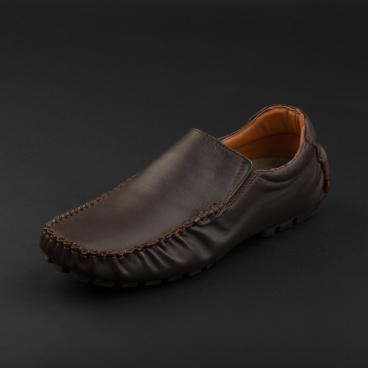 حذاء موكاسين جلد بني غامق 1036