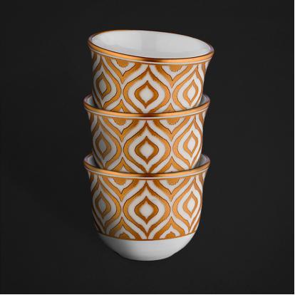 طقم فناجين قهوة عربية قولد 0488