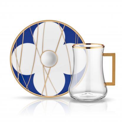 طقم بيالات شاي قولدن كوبالت مع مسكة 1308