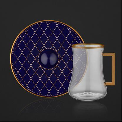 طقم بيالات شاي كويلت كوبالت مع مسكة 2068
