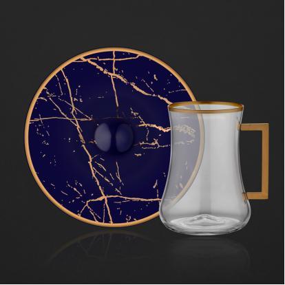 طقم بيالات شاي ماربل كوبالت مع مسكة 2070