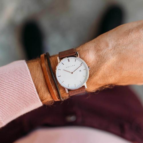 ساعة ميلر بني داكن ومينا أبيض 1B-BROWN1