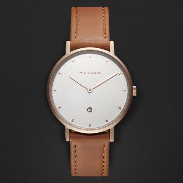 ساعة ميلر بني ومينا أبيض W1R-1CAMEL