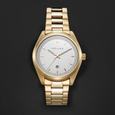 ساعة ميلر ذهبي ومينا أبيض W9OB-3.3GOLD