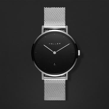 ساعة ميلر فضي ومينا أسود W1PN-2SILVER