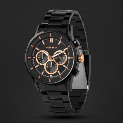 ساعة بوليس رجالية أسود ومينا أسود P15001JSB