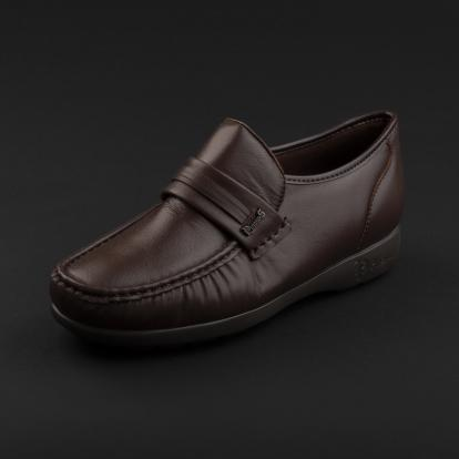 حذاء لوفر جلد بني داكن 7857