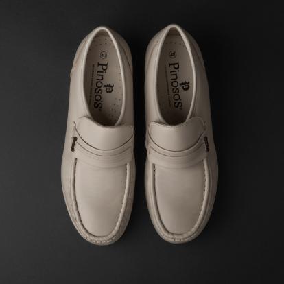 حذاء لوفر جلد بيج 7857