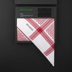 شماغ ريومون أحمر مع محفظة بحزام أسود / أخضر
