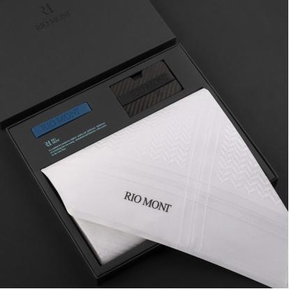 شماغ ريومون أبيض مع محفظة بحزام أسود / أزرق