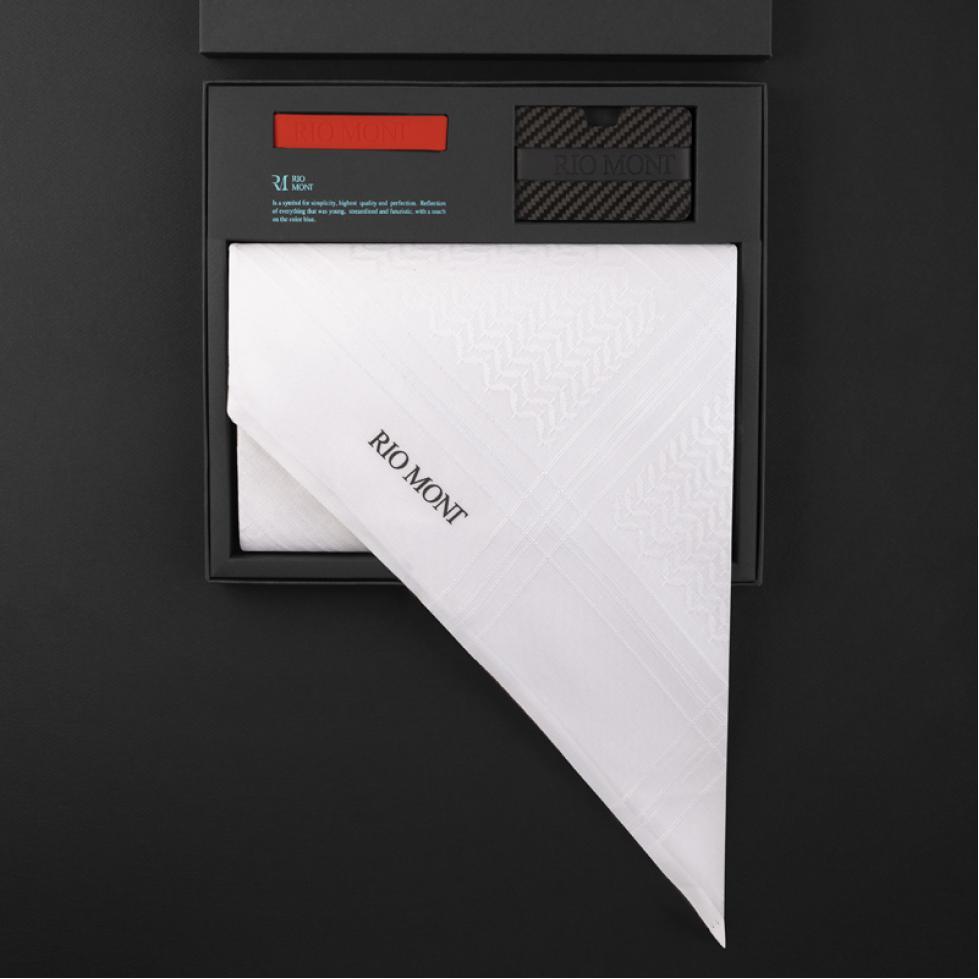 شماغ ريومون أبيض مع محفظة بحزام أسود / أحمر