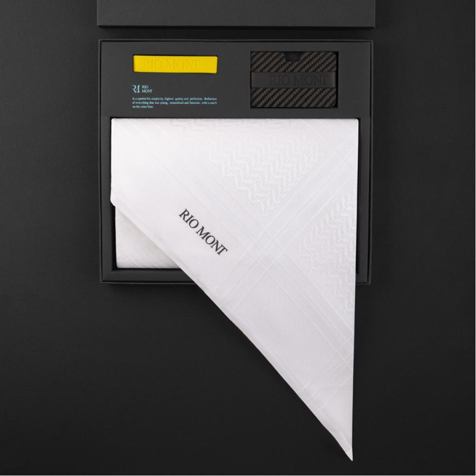 شماغ ريومون أبيض مع محفظة بحزام أسود / أصفر