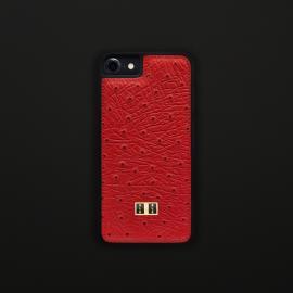 غطاء (كفر) جلد النعام أحمر للايفون 7 / 8 (BCAP7-11132)