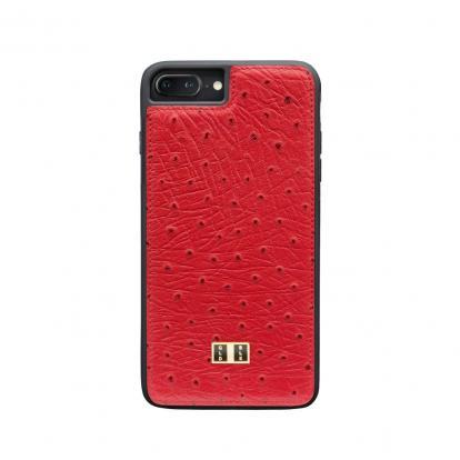 غطاء (كفر) جلد النعام أحمر للايفون 7 / 8 بلس (BCAP7-11232)