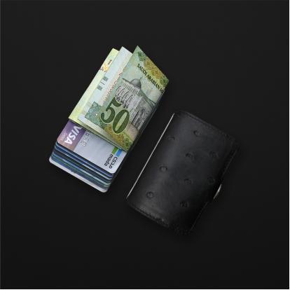 محفظة آي-كليب الذكية جلد نعام - اسود