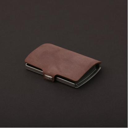 محفظة آي-كليب الذكية جلد ناعم بني
