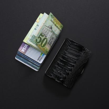 محفظة آي-كليب الذكية جلد ساق نعام - أسود العاج