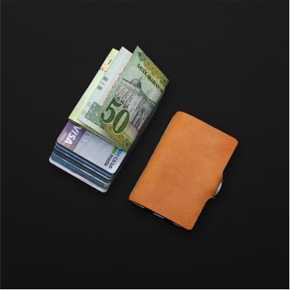 محفظة آي-كليب الذكية جلد ناعم كراميل