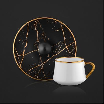 طقم فناجين قهوة ماربل بلاك مات قولد 1202