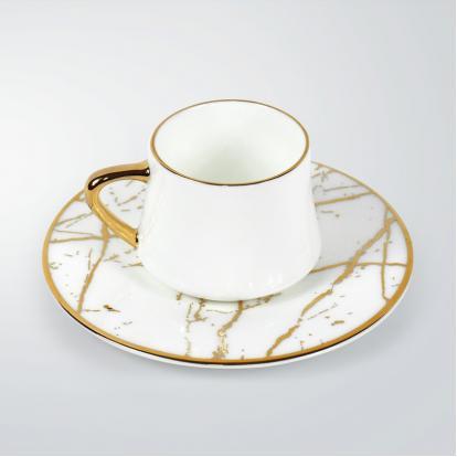 طقم فناجين قهوة ماربل وايت قولد 1342