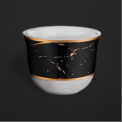طقم فناجين قهوة عربية ماربل بلاك مات قولد 1331