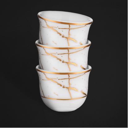 طقم فناجين قهوة عربية ماربل وايت قولد 1332