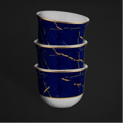 طقم فناجين قهوة عربية ماربل كوبالت 1333