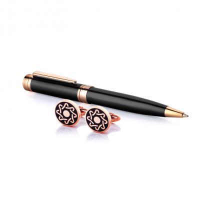 طقم نيتو ماراني قلم مع كبك لون أسود ذهبي روز - S100RB