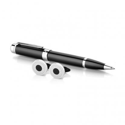 طقم نيتو ماراني قلم مع كبك لون أسود فضي - S123SB
