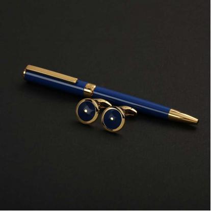 نيتو ماراني طقم قلم مع كبك لون أزرق غامق ذهبي - S107GD
