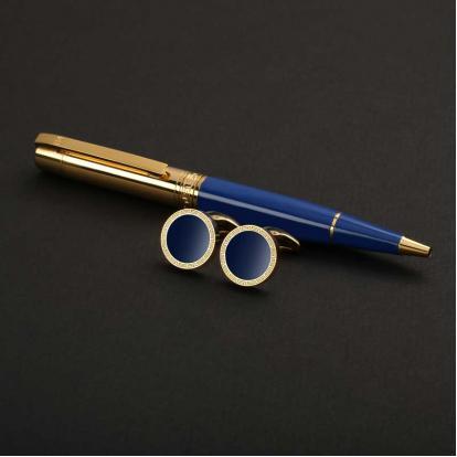 نيتو ماراني طقم قلم مع كبك لون أزرق غامق ذهبي - S115GD