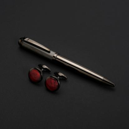 نيتو ماراني طقم قلم مع كبك لون رمادي أحمر - S117MU