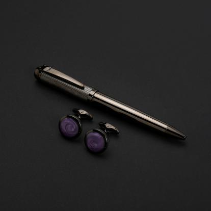 نيتو ماراني طقم قلم مع كبك لون رمادي بنفسجي - S117MY