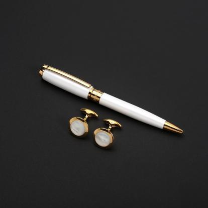 طقم نيتو ماراني قلم مع كبك لون أبيض ذهبي - S118GW