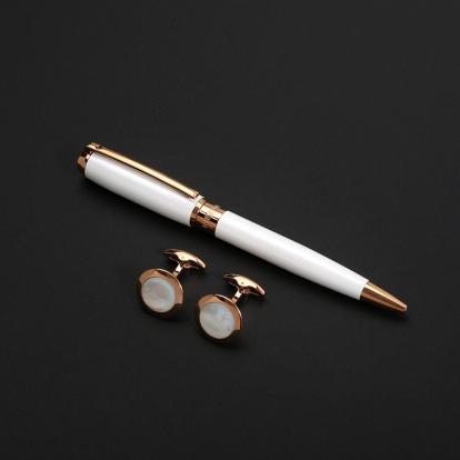 طقم نيتو ماراني قلم مع كبك لون أبيض ذهبي روز - S118RW