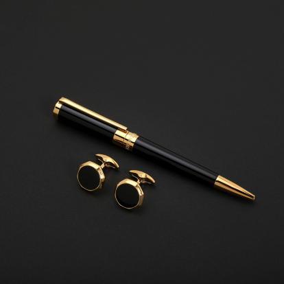 طقم نيتو ماراني قلم مع كبك لون أسود ذهبي - S122GB