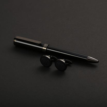 طقم نيتو ماراني قلم مع كبك لون أسود رمادي - S105BB