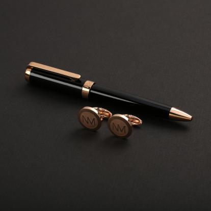 طقم نيتو ماراني قلم مع كبك لون أسود ذهبي روز - S105RB