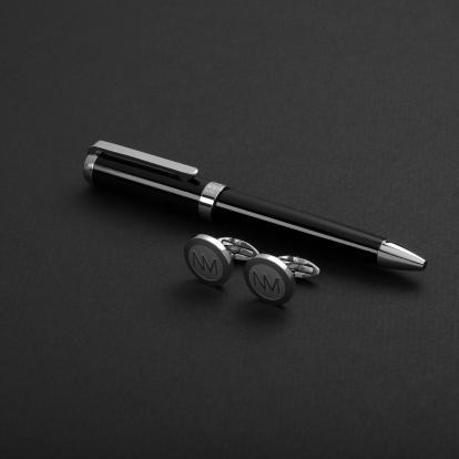 طقم نيتو ماراني قلم مع كبك لون أسود فضي - S105SB