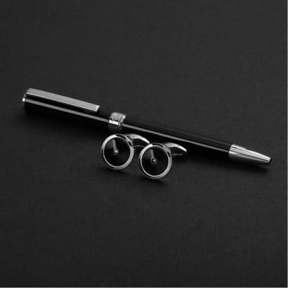 نيتو ماراني طقم قلم مع كبك أسود فضي S107SB